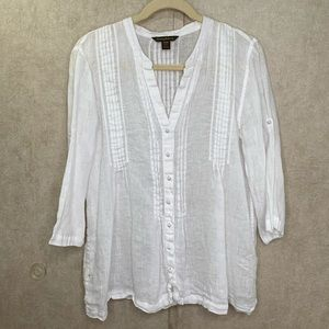 Tommy Bahama Pleated Linen Button Down Blouse